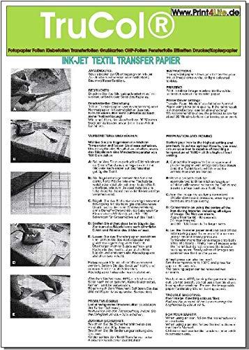 T-Shirt Folie Transferfolie Textilfolie klar-transluzent Transferpapier 15x DIN A4 für helle/weiße Stoffe