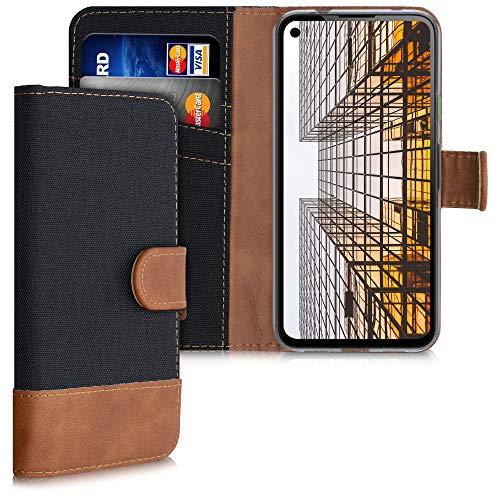 kwmobile Wallet Hülle kompatibel mit Google Pixel 4a - Hülle mit Ständer - Handyhülle Kartenfächer Schwarz Braun