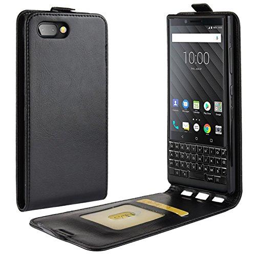 HualuBro BlackBerry KEY2 Hülle, Premium PU Leder Leather HandyHülle Tasche Schutzhülle Flip Hülle Cover mit Karten Slot für BlackBerry Key 2 Smartphone (Schwarz)