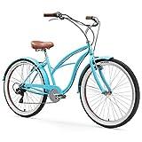 sixthreezero Women's 7-Speed Beach Cruiser Bicycle, Teal w/Brown Seat/Grips, 26' Wheels/17 Frame