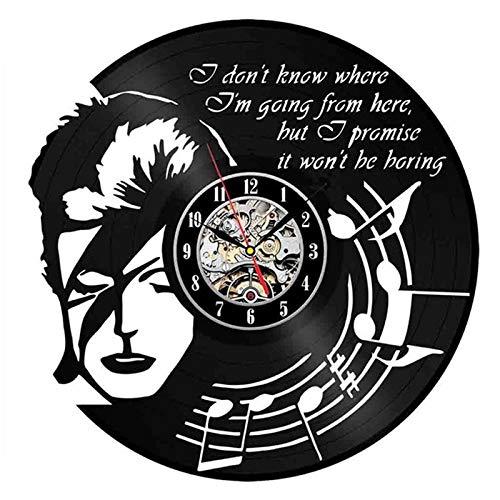 LKJHGU Reloj de Pared 3D diseño Moderno Tema Musical Disco de Vinilo Retro Reloj de Pared Sala de Estar Dormitorio decoración Ventilador Regalo