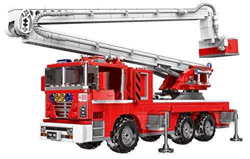 Bausteine Feuerwehr USA Feuerwehrauto mit Hydraulik Teleskop Korb, 751 Klemmbausteine