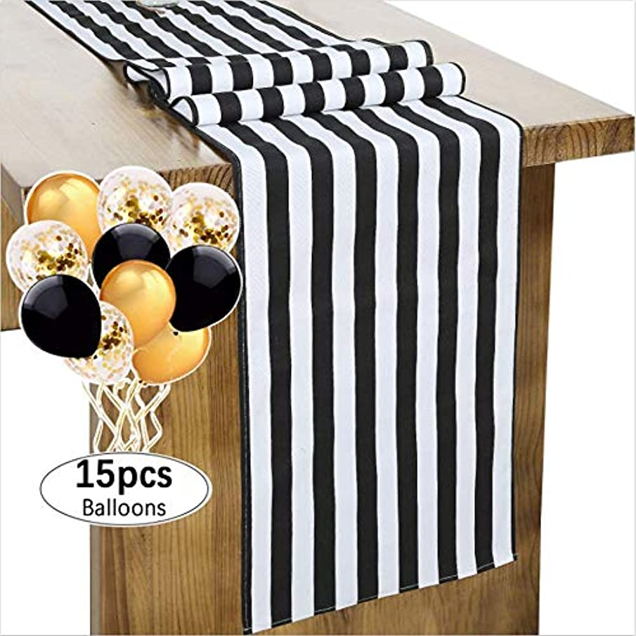 B-COOL Classical Durable Black and White Striped Table Runner 14
