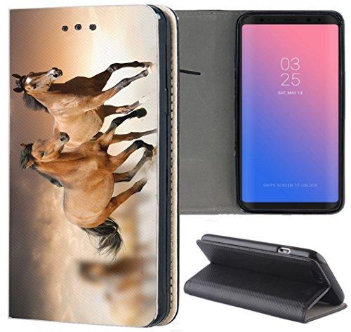 Samsung Galaxy S7 G930F Hülle Premium Smart Einseitig Flipcover Hülle Galaxy S7 Flip Hülle Handyhülle Samsung Galaxy S7 Motiv (1304 Pferd Pferde Braun)