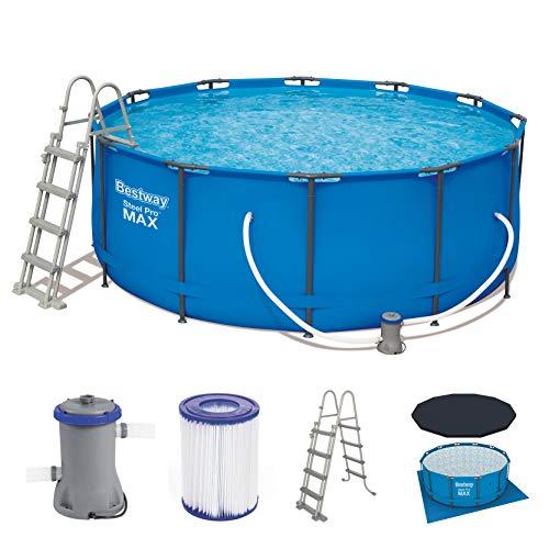 Bestway Steel Pro Frame Pool Komplettset rund, mit Kartuschenfilterpumpe, Leiter und Abdeckplane, 366x122 cm, blau