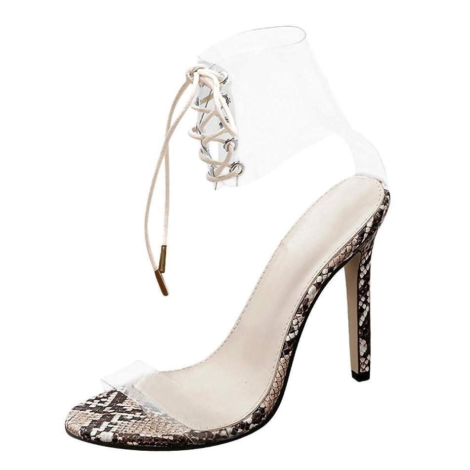 Women Sexy Transparent Sandals, High Heels Lace-Up Snake Pattern Stiletto Sandals