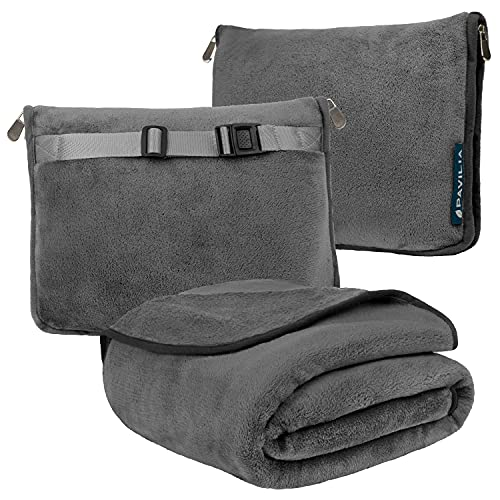 PAVILIA Travel Blanket and Pillow, Dual Zippers, Clip On Strap |Warm Soft Fleece 2-IN-1 Combo Blanket Airplane, Camping, Car |Large Compact Blanket Set, Luggage Backpack Strap, 60 x 43 (Charcoal Gray)