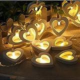 Stringa Luci LED,JIJI886 Catena Luminosa 3M20LED Creativo a forma di cuore a batteria impermeabile alimentato a luce bianca stringa per Indoor Natale festa di nozze (bianca)