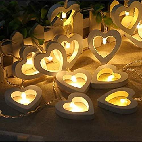 20 LED Lights Wooden Love Heart Fairy Lights, Warm White Wooden Heart Fairy String Light, Festive Lights Wooden Heart String Lights, Creative Wooden Heart LED String Lights, Christmas String Light