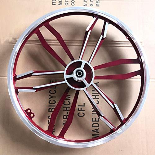 Llanta de aleación de ruta bici plegable de aluminio Set 20' freno de disco 10 radios Integrado de ruedas de las ruedas delanteras solo hilo de rosca posterior Doble Rueda ( Color : Red wine )