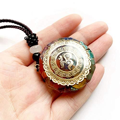 VeliHome Colar de orgonita da sorte, 7 chacras cura cristal espiritual joia com pingente de ioga, para homens e mulheres