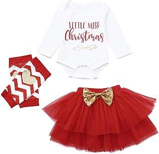 b0303f90c4e6d LianMengMVP 3 Pcs Bébé Fille Déguisement Noël Vêtement de Baptême Body  Nouvelle Année Combinaison à Manche