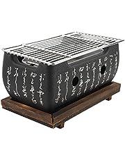Grillgrill i japansk stil mini hushåll BBQ kolspis med träbas Hibachi för Yakiniku Takoyaki Camping