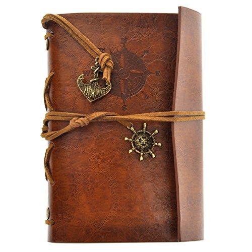 LEORX Pirat depoca Verankerung Fliegende Blätter Kette mit weiß Notebook Travel Journal Tagebuch