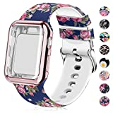 Compatible for Apple Watch Band with Screen Protector Case, Soft Silicone Sport Wristband for Apple Watch iwatch Series 3 2 1 (38mm,Blue Rose)