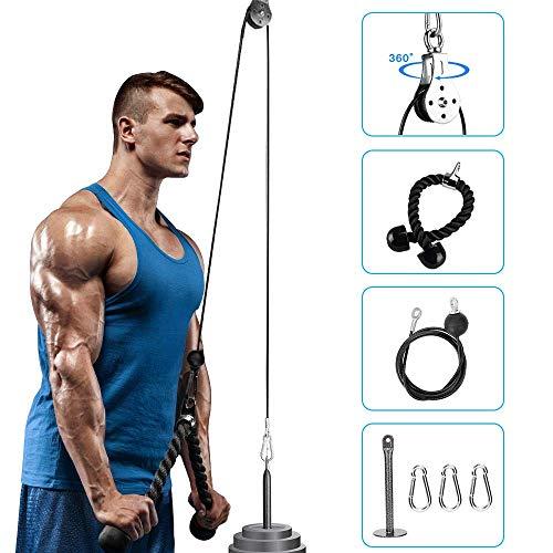 Elikliv Sistema de máquina de polea con pasador de carga, correa de tríceps, fuerza muscular, sistema de polea de fitness, equipo de gimnasio, bíceps rizado, extensiones de tríceps (2)