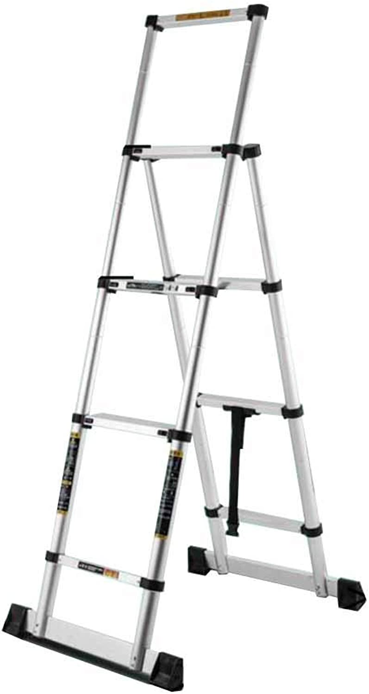 KTYXDE Telescopic Ladder Family Herringbone Ladder Indoor Multi-Function Bold Aluminum Ladder Step Stool (Size   A)