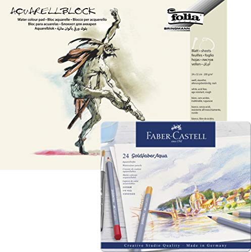 Faber-Castell Aquarellstifte, Metallbox (24er Box mit Aquarellblock 24 x 32)