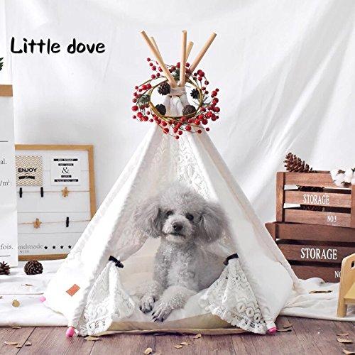 CLS Little Dove tipi tent voor honden, huis en tent met kant voor hond of huisdier, afneembaar en wasbaar, met matras, wit, Small, Kleur: wit