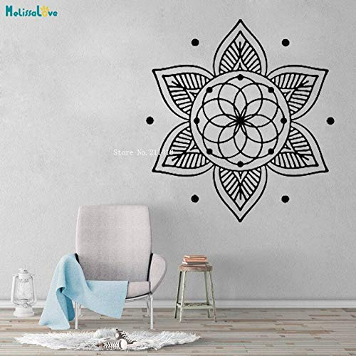 Tianpengyuanshuai Simple Ring Flower Wall Decal Lotus Mandala Yoga Meditation Buddhism Home Decor Vinyl Sticker Unique Gift 40x37cm