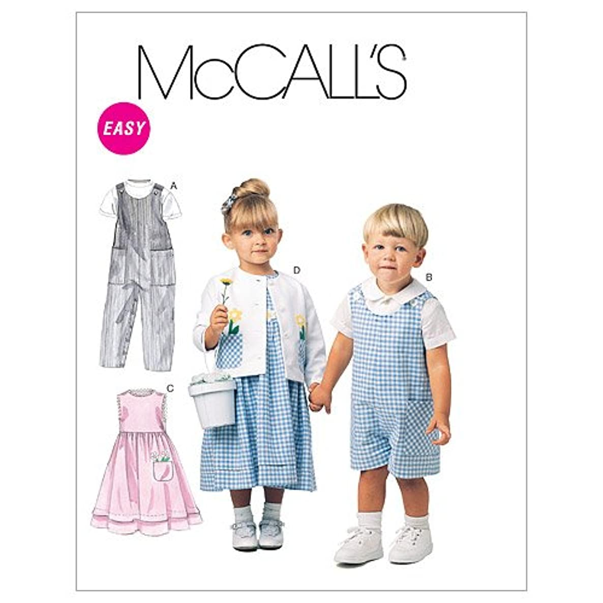 McCall's Patterns M6304 Toddlers' Rompers in 2 Lengths, Dress, Jacket and Shirt, Size CB (1-2-3)