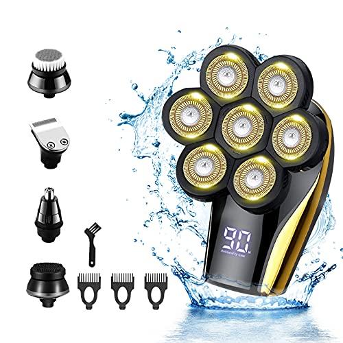 Glatzen - Maquinilla de afeitar eléctrica 5 en 1, 5D, recargable por USB, batería LED con 7 cabezales, afeitadora en húmedo y seco, con recortador de vello nasal, cepillo facial y recortador de barba