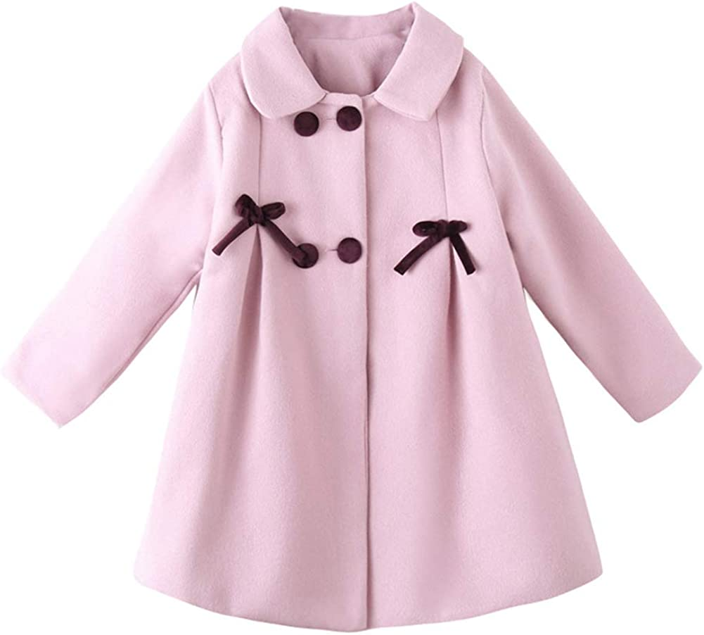 Digirlsor Kids Girls Winter Bowknot Double-Breasted Wool Jacket Casual Mid Length Lapel Dress Coats Outerwear,3-11Y