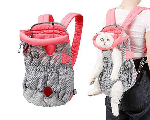 Tineer Legs Out Front Dog Carrier Mochila - Mochila para mascotas perros pequeños medianos Gatos, bolsa de viaje para cachorros y gatos con manos libres para caminar, andar en bicicleta (M, Rosa gris)