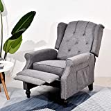 BINGTOO Wingback Recliner Chair, Accent Chairs for Living Room- Recliner Chair with Heat and Massage- Tufted Push Back Club Chair with Nailhead Trim