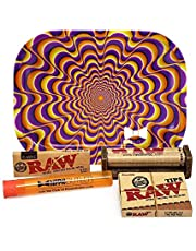 Bundle - 5 Items - Raw Classic 1 ¼ Rolling Papers, 79mm Roller, Pre-Rolled Tips with Hippie Butler Mini Rolling Tray (Trippy) and Hippie Butler Kewltube
