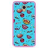 Hapdey silikon Hülle für [ Meizu M5 Note ] Design [ Musteretiketten, Lippen, Herz & Wolken ] Rosa Flexibles TPU