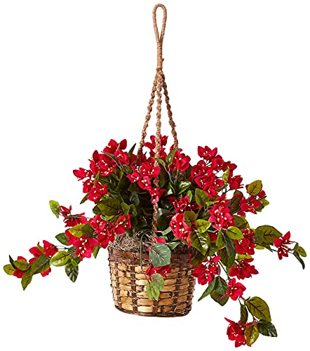 Nearly Natural Bougainvillea Hanging Basket UV Resistant (Indoor/Outdoor)...
