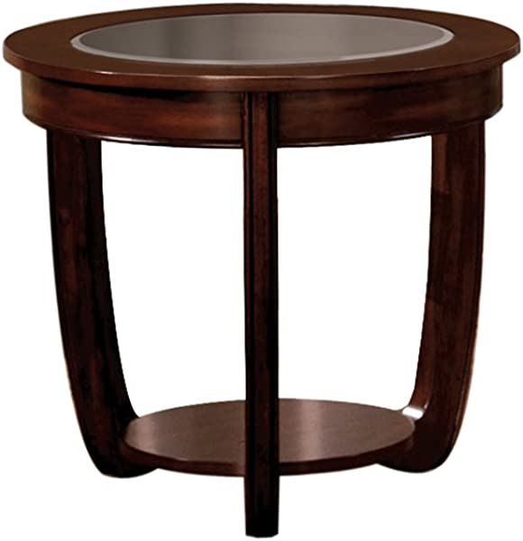 Furniture Of America Byrnee End Table With 5mm Beveled Glass Top Dark Cherry Finish