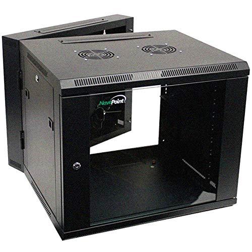 NavePoint 9U Wall-Mount Network Cabinet Enclosure, 600mm Depth, Hinged Back, Swing Gate Server Cabinet, Locks, Pre-Assembled, Reversible Glass Front Door, 1 x L Brackets, 2 Fans, Cable Management