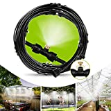 Cooling Misting System Outdoor Misting System - Misting Line 59FT(18M) with 26 Brass Mist Nozzles, Outdoor Misters for Patio, Fan, Garden, Greenhouse, Trampoline for waterpark - 3/4'' Adapter, Black