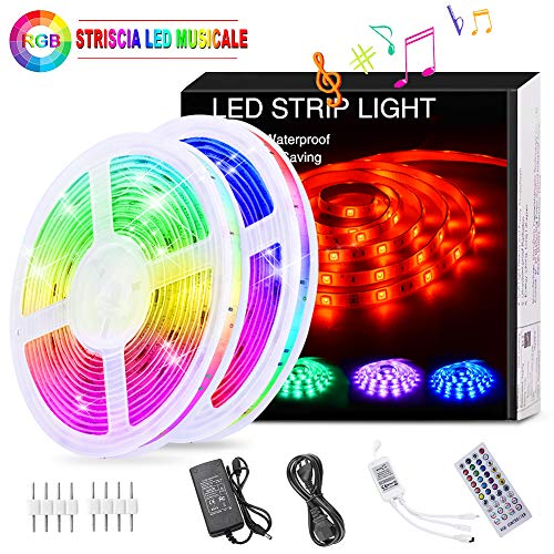 Striscia LED RGB Musicale 10M, Autoadesiva Striscia Luminosa 12V LED Strip RGB Impermeabile/Flessibile/Accorciabile/Divisibile/Collegabile/App Led Illuminazione Strisce Decorative per Interni/Esterni