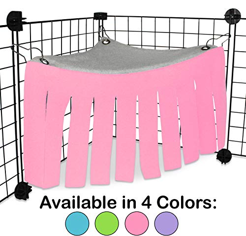 Corner Fleece Forest Hideout for Guinea Pigs, Ferrets, Chinchillas, Hedgehogs, Dwarf Rabbits and Other Small Pets - Accessories and Toys (Pink/Gray)