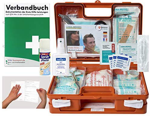 Verbandskoffer/Verbandskasten (K) Typ CS - Erste Hilfe nach DIN 13157 für Betriebe -DSGVO- INKL. PERFORIERTEM VERBANDBUCH + Hände-Antisept-Spray & Sprühpflaster