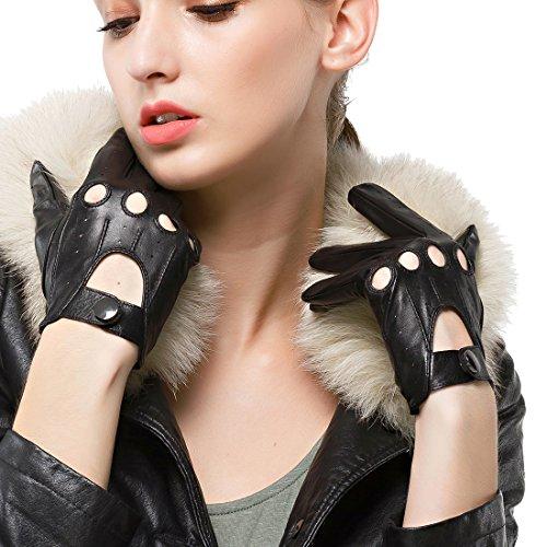 Nappaglo Damen Lederhandschuhe für fahren Touchscreen klassische Lammfell Vollfinger Motorrad Ungefüttert Handschuhe (XL (Umfang der Handfläche:20.3-21.6cm), Schwarz(Touchscreen))