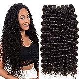CLAROLAIR extensiones rizadas de cabello natural pelo natural humano rizado pelo humano color negro total 300g (14 16 18 INCH)