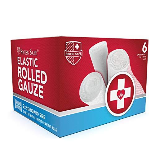Swiss Safe Long Elastic Stretch Gauze Rolls, 4 Inch x 8 Yards (6 Pack)