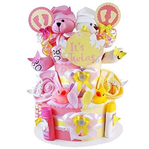 MomsStory – Tarta de pañales para gemelos, oso de peluche, regalo para nacimiento, bautizo, baby shower, 2 pisos (rosa y amarillo) con babero de peluche y más
