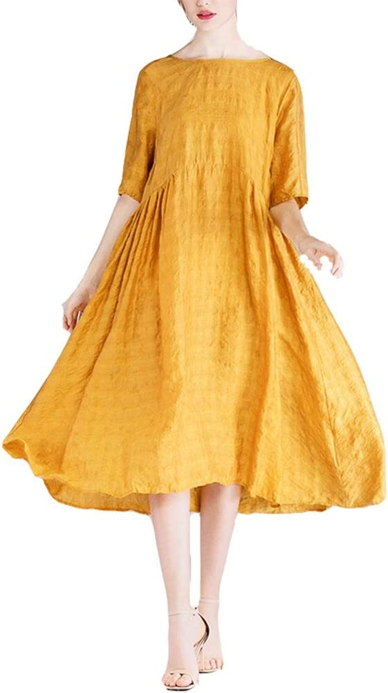 Dongjiguang Dress Large Size Women's Dark Flower was Thin Tencel 4 Sizes and 3 Colors (Color : B, Size : XL)