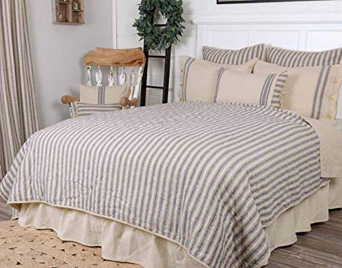 Best Price Market Place Blue Ticking Stripe Quilt, Twin, 86 x 68, Blue & Natural Cream Quilted Cou...