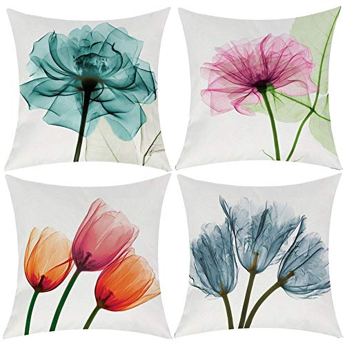 Watercolor Flower Throw Pillow Cover Decorative Durable Cushion Cover 20 x 20 Pillow Case Beautiful Flower Tulip Vibrant Teal Color Hidden Zipper Home Decor Fall Winter Sofa Couch Bedroom Living Room