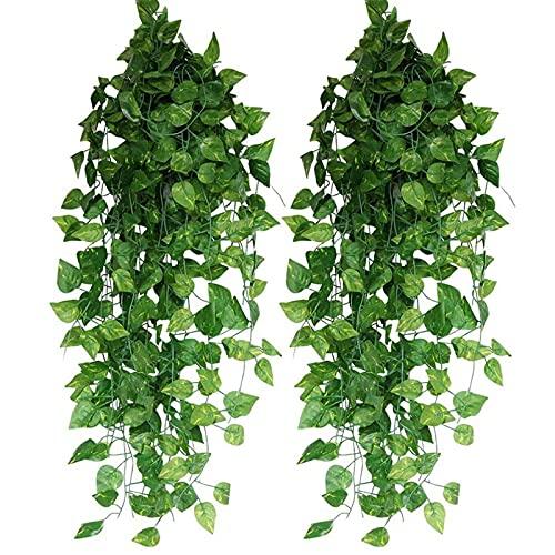 2 ghirlande di edera artificiali, ghirlanda di edera artificiale, per ufficio, cucina, giardino, feste, decorazione da parete