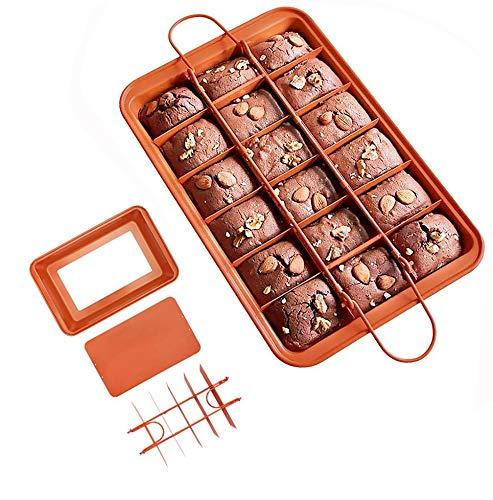 Molde de Brownie Divisor y La Estructura Extraíble Molde para Tartas Antiadherente de Acero al Carbono