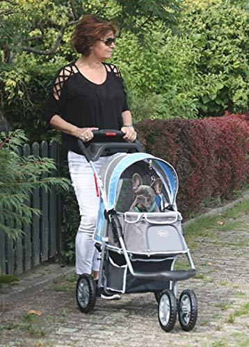 Innopet® Hundebuggy blau grau Hundewagen Katzenbuggy Hundejogger robust Kinderwagen für Hunde Pet Stroller - Modell First-Class