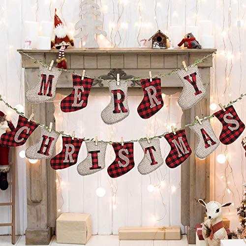LessMo Banner de Feliz Navidad, Diseño de Calcetín de Arpillera a Cuadros, Banderines Navideños, Decoración para Arbol de Pared de Chimenea, Ideal para Decoración Navideña