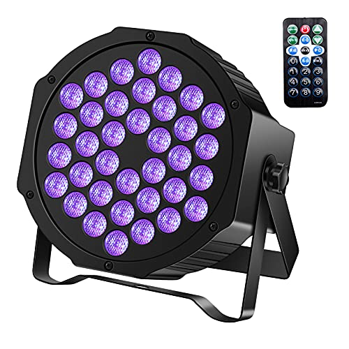 U`King LED Black Light 36 x 2W UV Lighting Par Lights Glow in The Dark Supplies Blacklight for Christmas and Birthday Party Wedding Stage Controlled by IR Remote and DMX